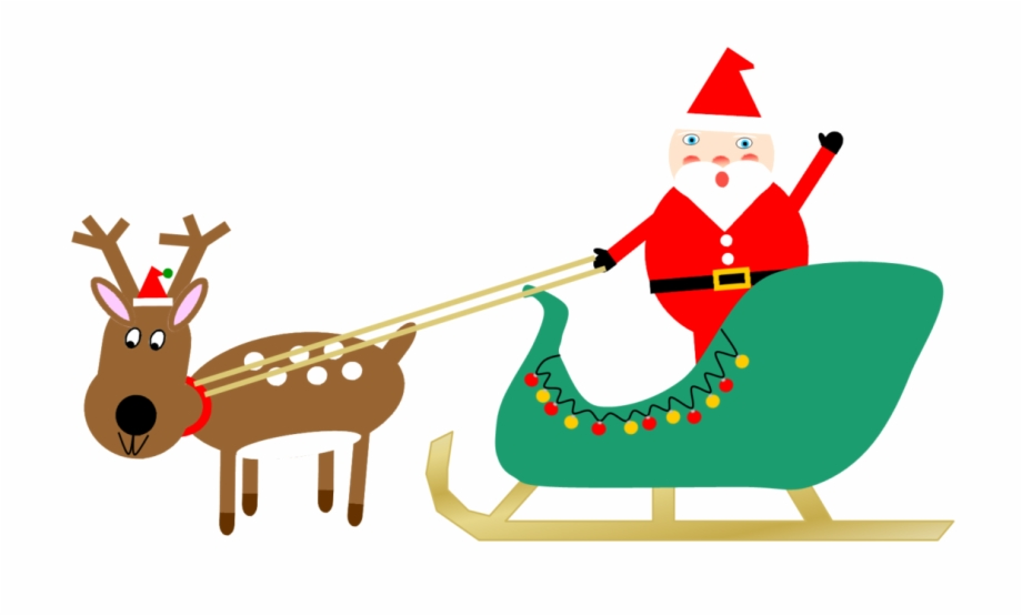 Santa in sleigh with reindeer clipart vector royalty free Santa Sleigh And Reindeer 1 Free PNG Images & Clipart ... vector royalty free