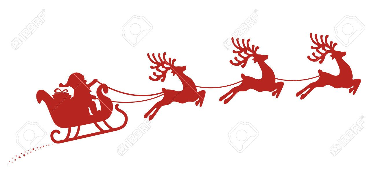 Santa in sleigh with reindeer clipart png royalty free download Stock Vector | Silhouettes | Santa sleigh, Santa sleigh ... png royalty free download