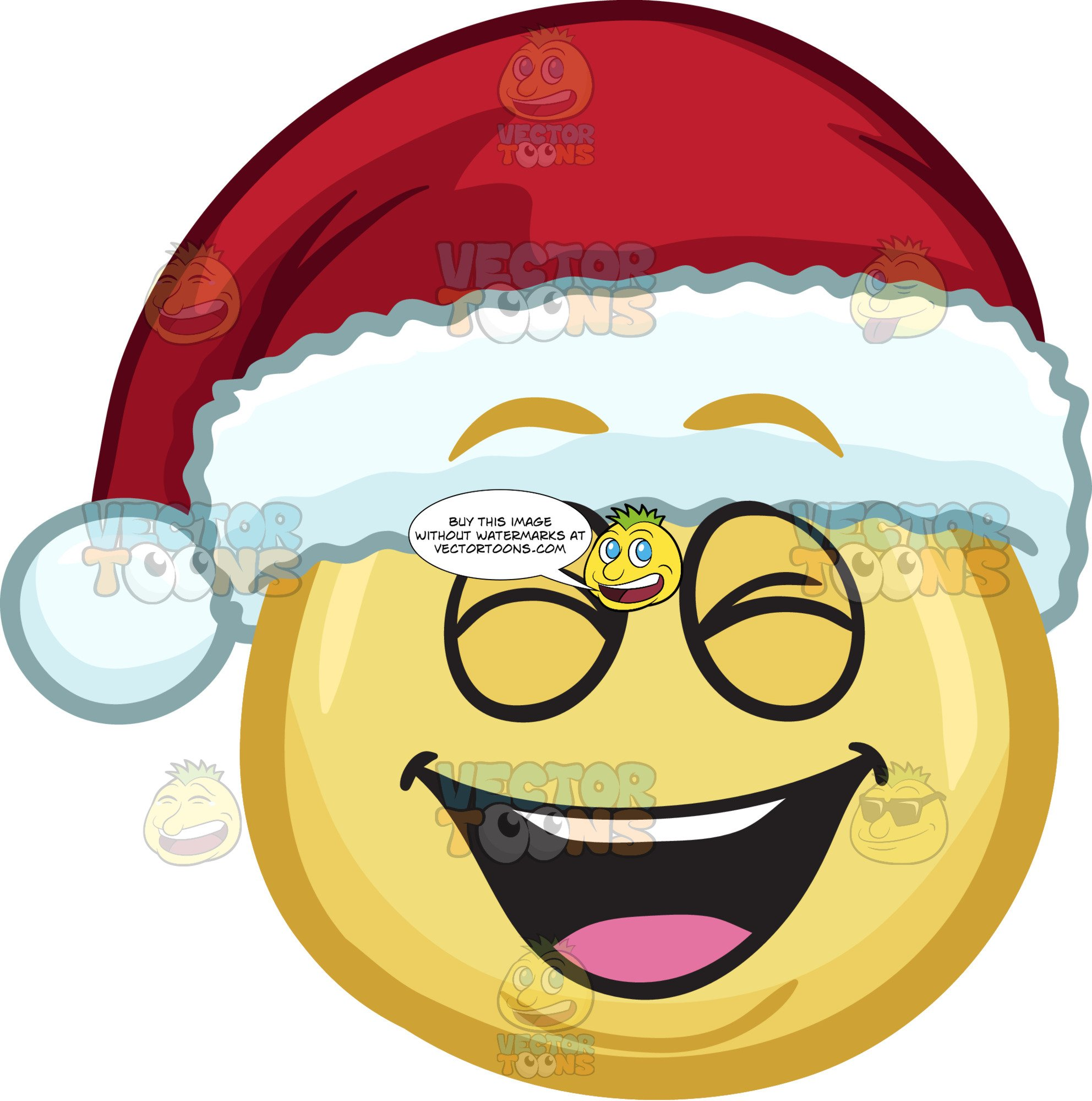 Santa laughing clipart jpg royalty free stock A Laughing Emoji Wearing A Santa Hat jpg royalty free stock