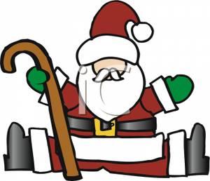 Santa legs clipart vector black and white Cartoon of Santa Claus Wearing Green Mittens,sitting with ... vector black and white