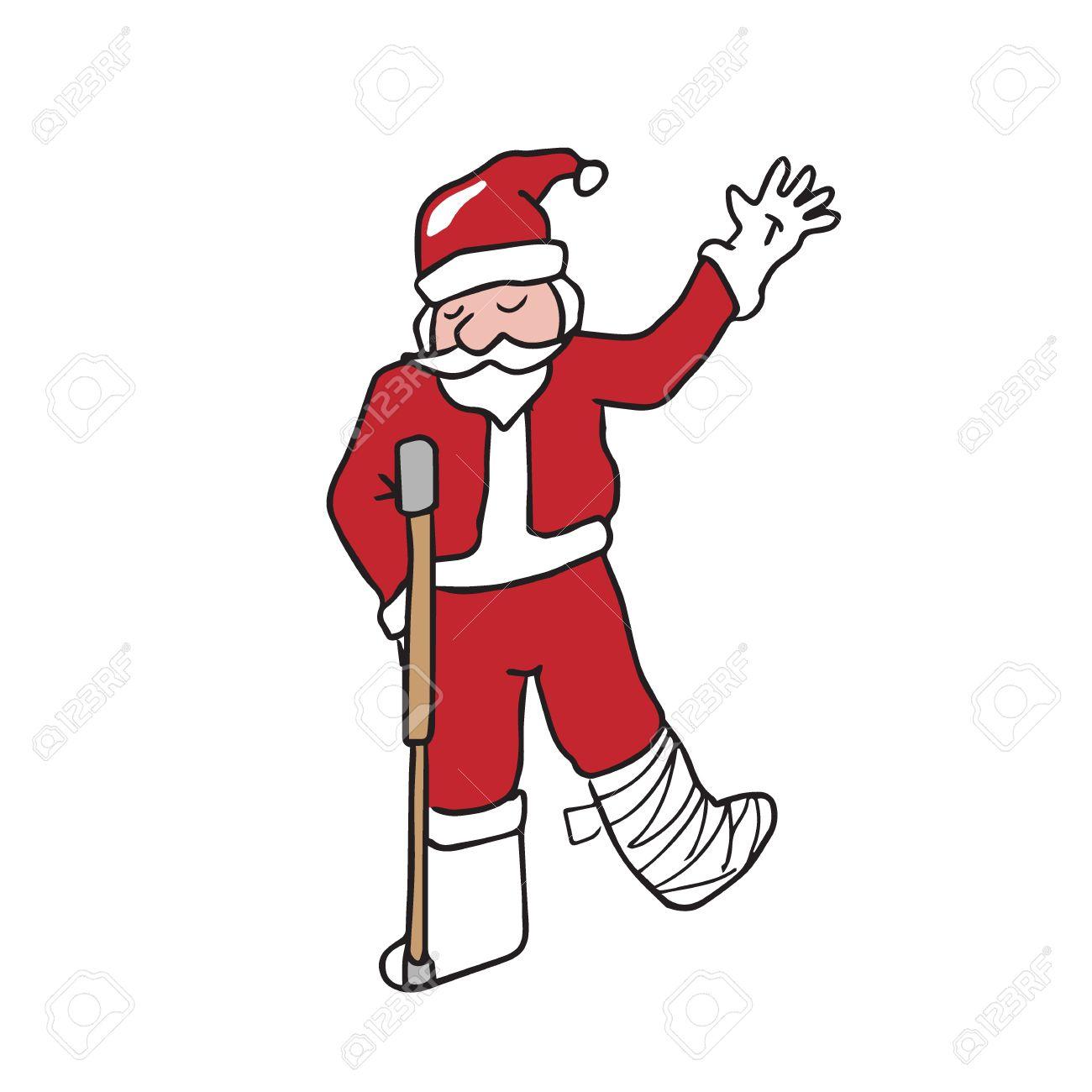 Santa legs clipart jpg transparent stock Santa with broken leg cartoon drawing » Clipart Station jpg transparent stock