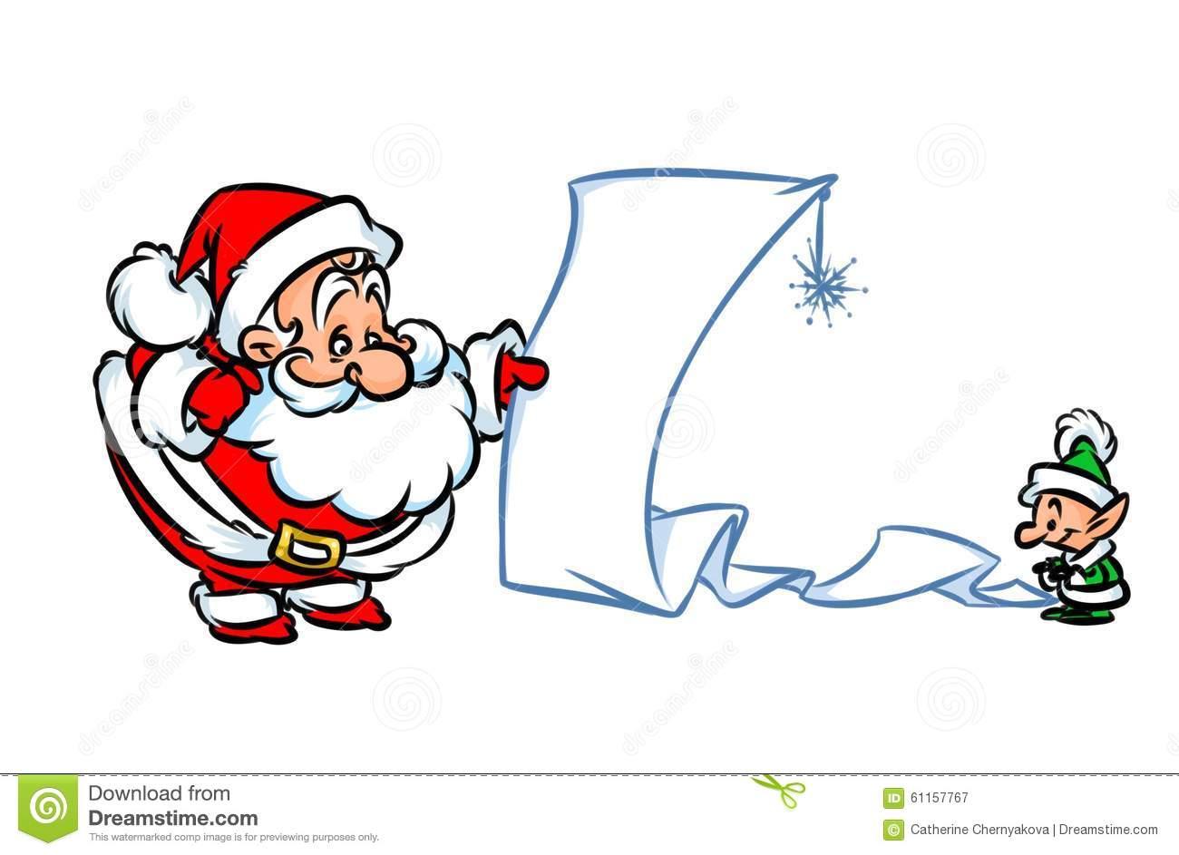 Santa list clipart freeuse library Santa Claus Holiday Gift List Cartoon Illustration Stock ... freeuse library