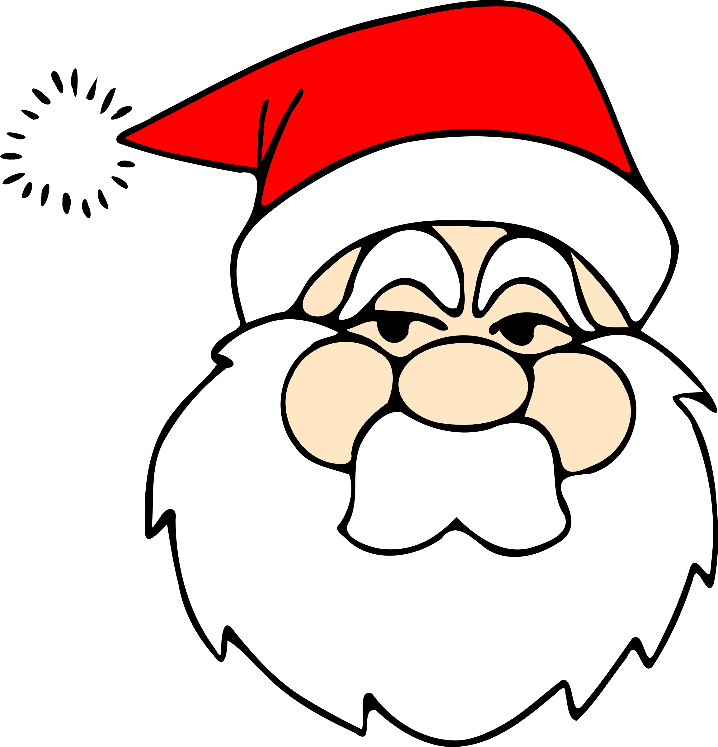 Santas list clipart clipart library stock Clipart - Santa line art clipart library stock