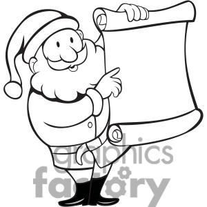 Santa list clipart banner stock Santa checking his list clipart black and white - ClipartFest banner stock