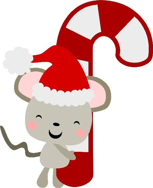 Santa mouse clipart clip freeuse Santa Mouse Candy Cane clip freeuse