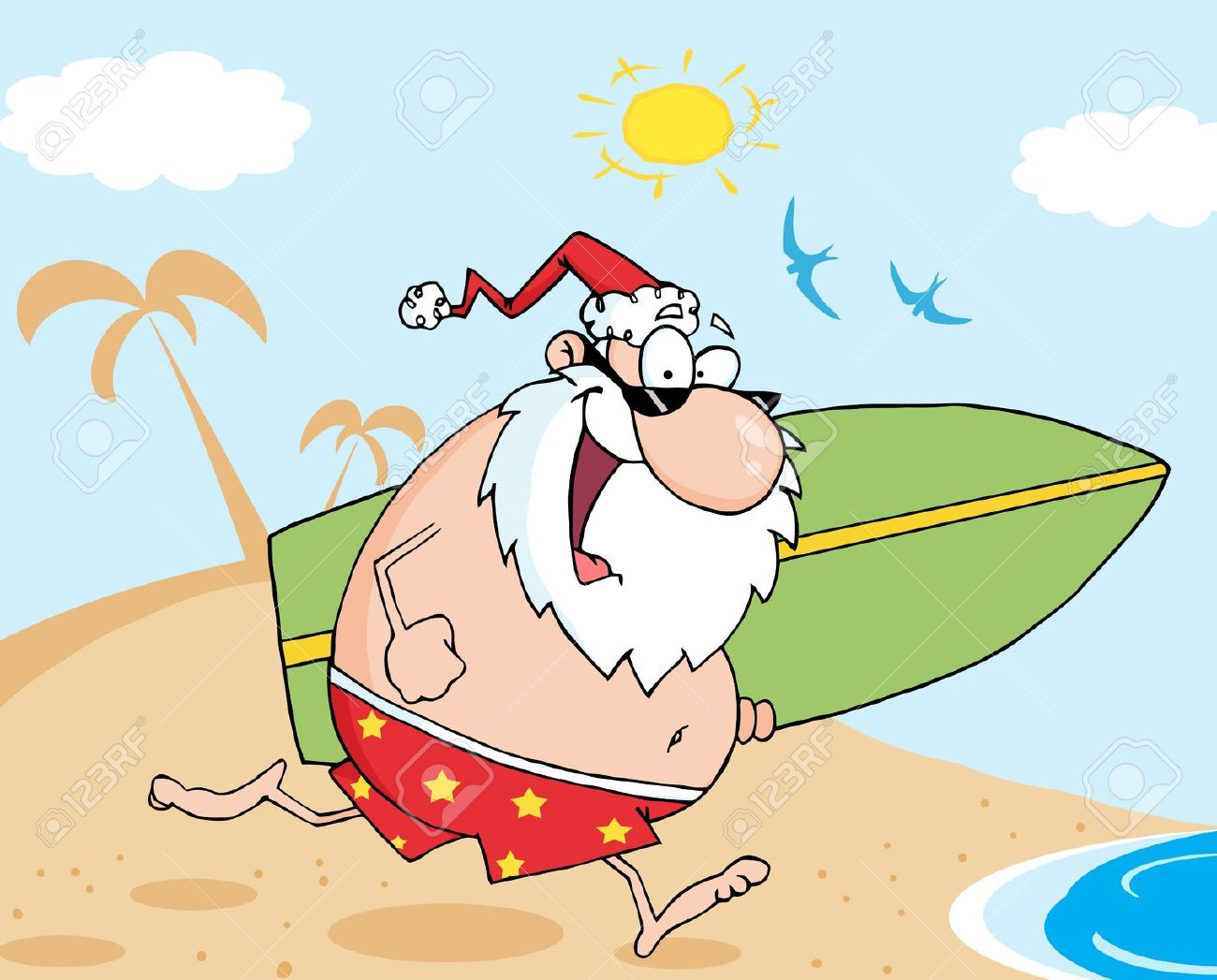 Santa on a surfboard clipart jpg free download Santa Running On A Beach With A Surfboard Royalty Free Cliparts ... jpg free download