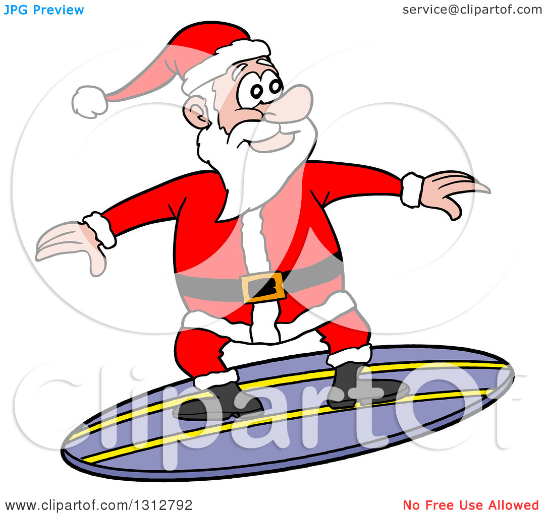 Santa on a surfboard clipart graphic black and white Surf santa in swimsuit clipart free - ClipartFest graphic black and white