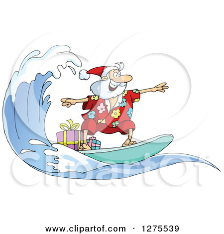 Santa on a surfboard clipart jpg library library Free santa claus surfing clipart - ClipartFest jpg library library