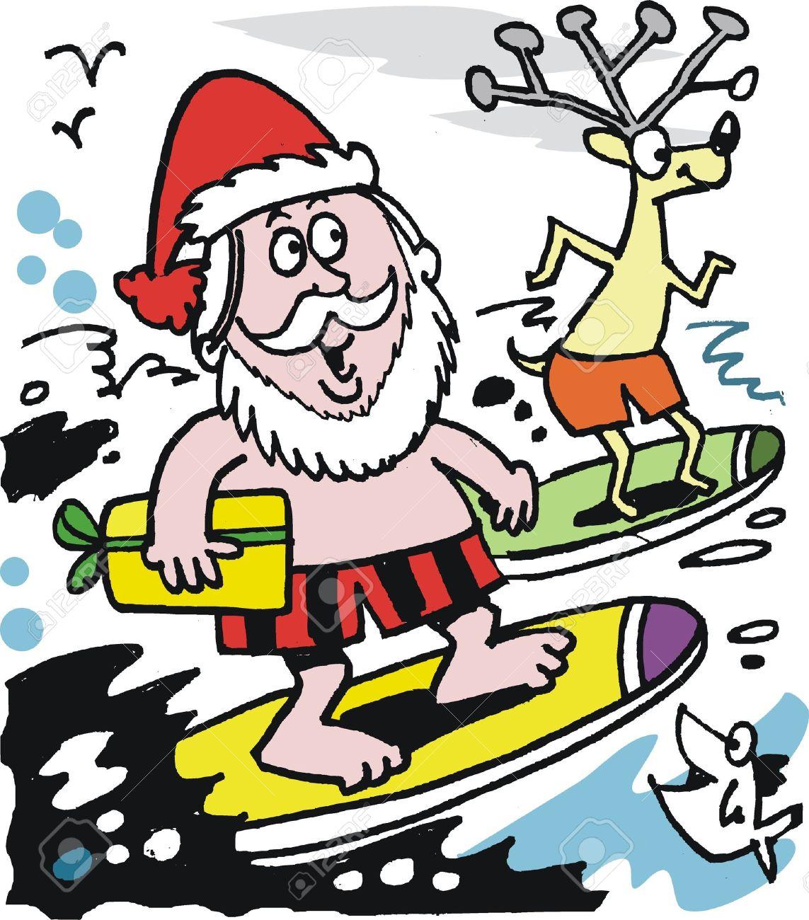Santa on a surfboard clipart clip library Santa surboard clipart - ClipartFest clip library