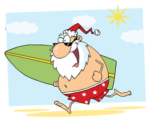Santa on a surfboard clipart jpg transparent stock Surfer Clipart Image - Santa Takes a Breal After Christmas and ... jpg transparent stock