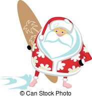 Santa on a surfboard clipart png black and white download Surfing santa Clip Art Vector and Illustration. 118 Surfing santa ... png black and white download