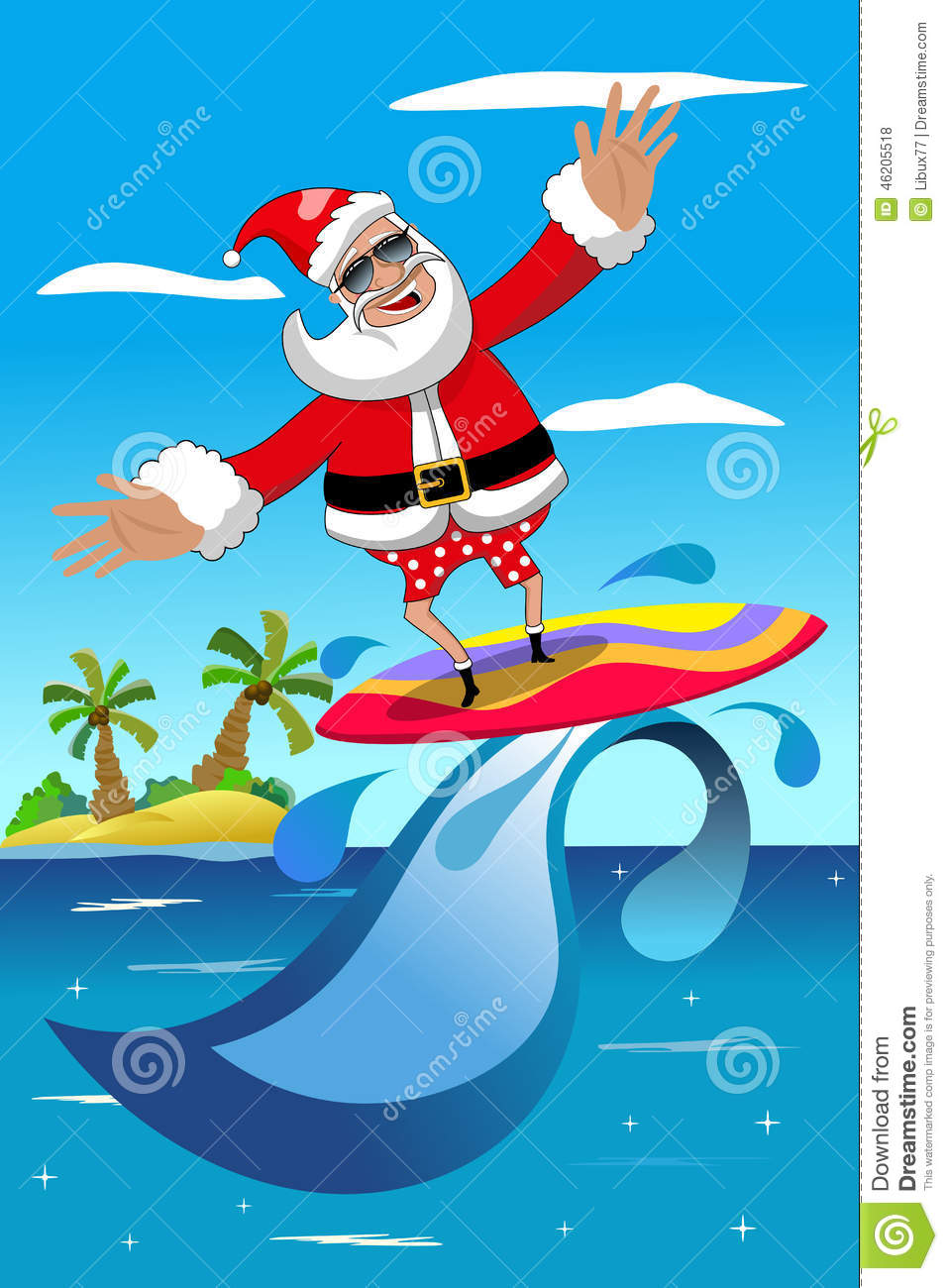 Santa on a surfboard clipart graphic free stock Christmas Santa Claus Surfing Tropical Sea Stock Illustration ... graphic free stock