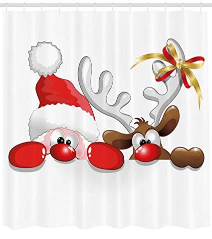 Santa peeking clipart svg transparent Ambesonne Christmas Shower Curtain, Funny Christmas Santa Claus and  Reindeer Peeking Cartoon Style Humor, Fabric Bathroom Decor Set with Hooks,  75 ... svg transparent