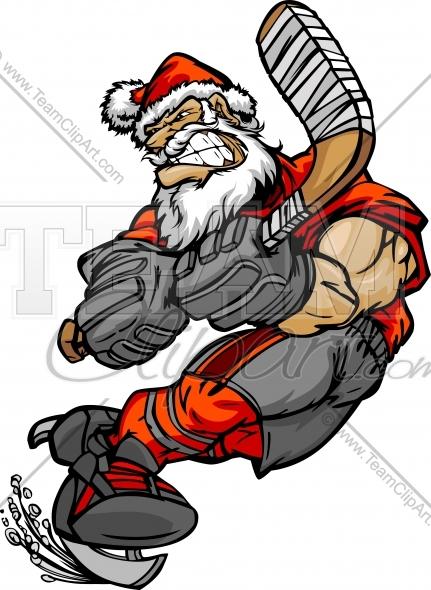 Santa playing hockey clipart freeuse Santa Claus Hockey Clipart Image. Vector Format. freeuse