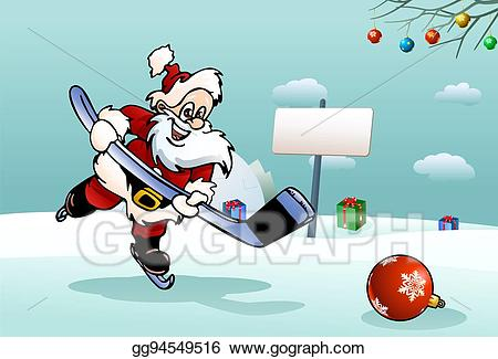 Santa playing hockey clipart clip black and white download Drawing - Santa play hockey. Clipart Drawing gg94549516 ... clip black and white download