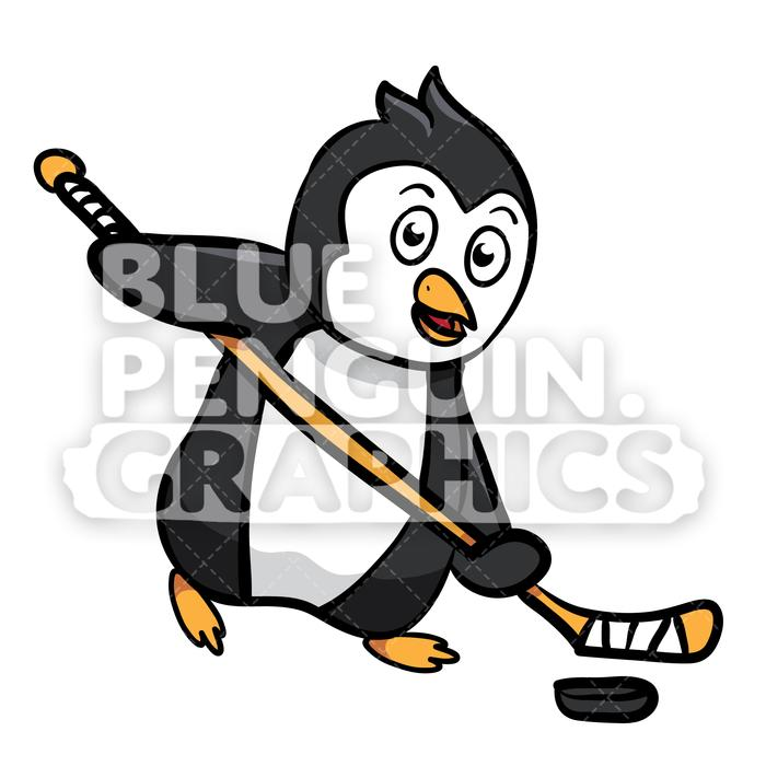 Santa playing hockey clipart image black and white download Penguin Playing Hockey Vector Cartoon Clipart Illustration image black and white download