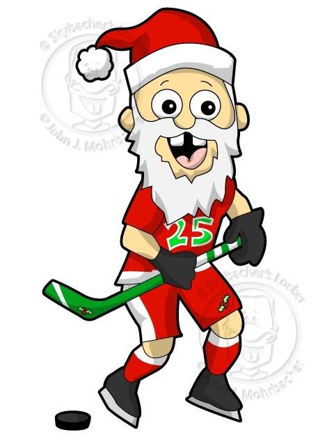 Santa playing hockey clipart clip art freeuse Hockey – Santa Cartoon | Skybacher\'s Locker clip art freeuse