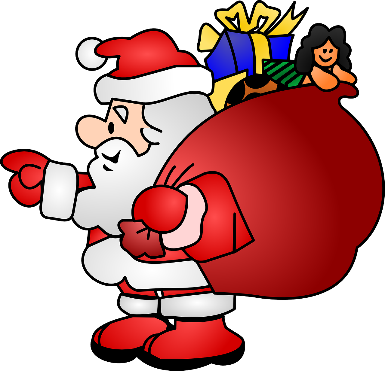 Santa reading a book clipart banner black and white Directory /images/clip-art banner black and white