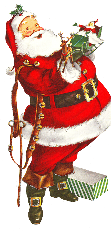 Santa reading a book clipart graphic free download Charming Vintage Christmas Clip Art graphic free download
