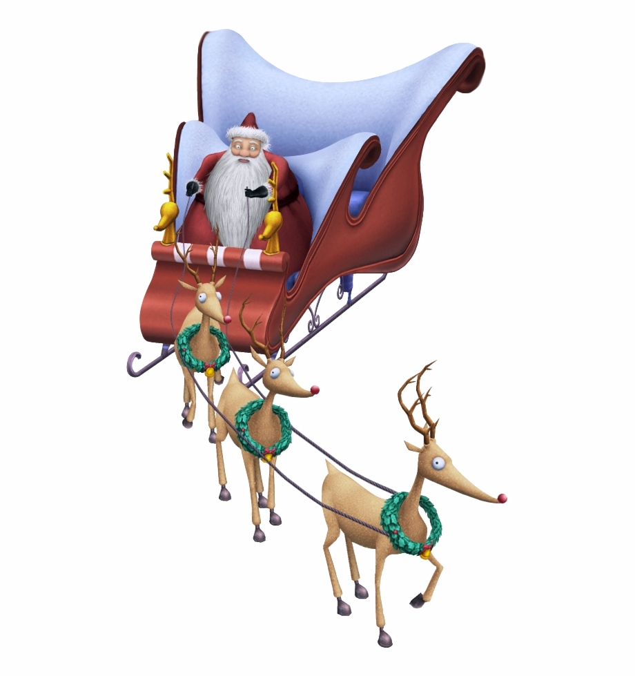 Santa riding in a sleigh with reindeer clipart clipart royalty free stock Santa Claus With Reindeer Png - Nightmare Before Christmas ... clipart royalty free stock
