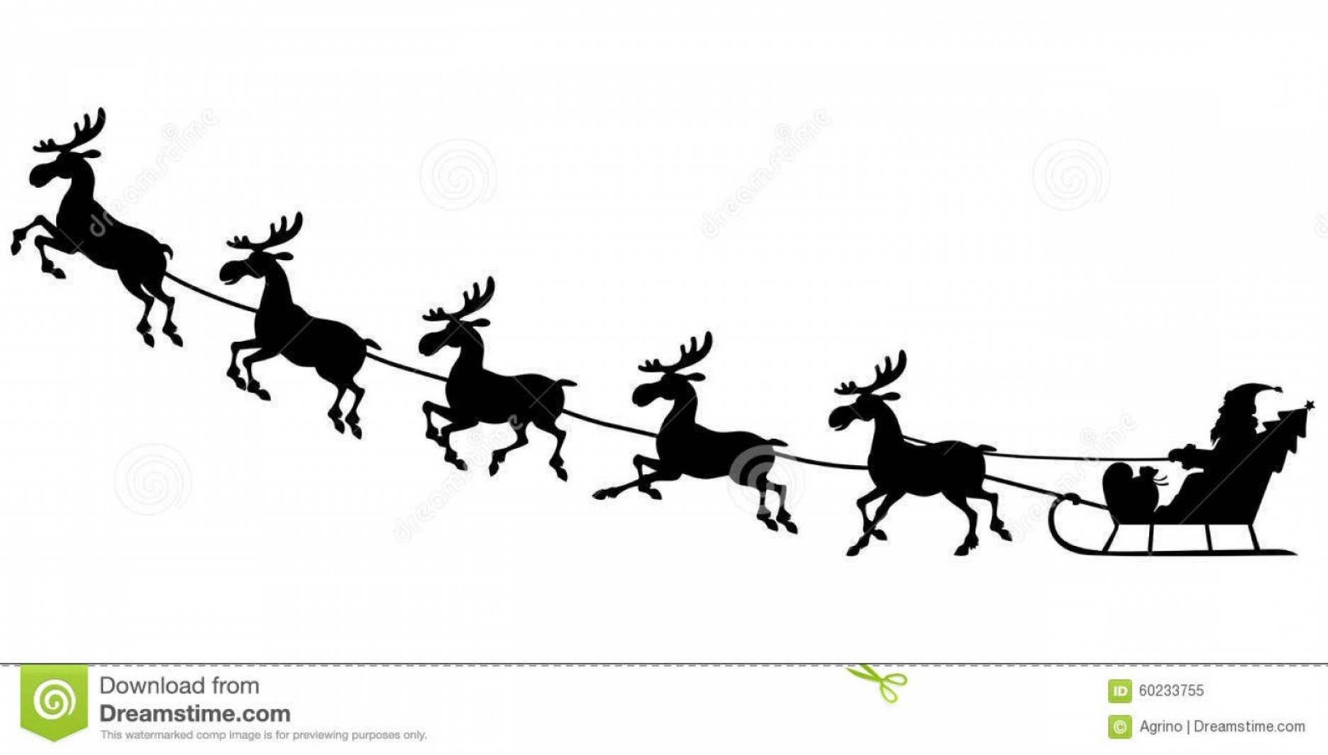 Santa riding in a sleigh with reindeer clipart picture transparent download Stock Illustration Silhouette Santa Riding Reindeer Sleigh ... picture transparent download