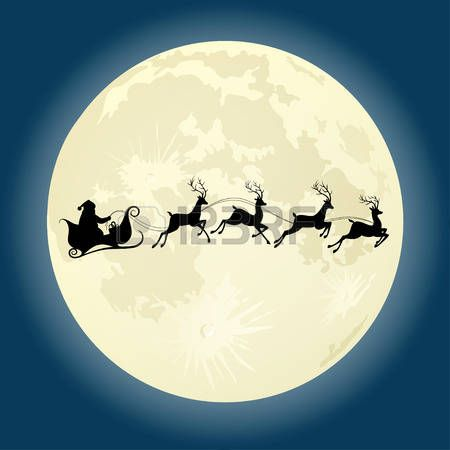 Santa riding in a sleigh with reindeer clipart svg library library moon: Santa Claus silhouette riding a sleigh with deers in ... svg library library