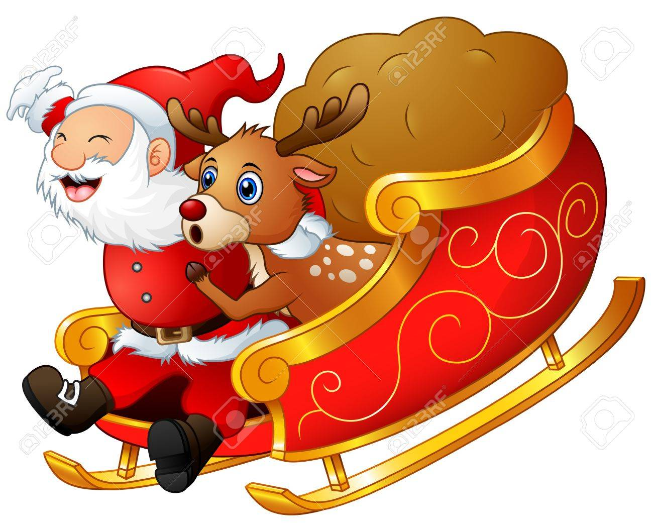 Santa riding in a sleigh with reindeer clipart clipart free download Santa And His Sleigh Pictures | Free download best Santa And ... clipart free download