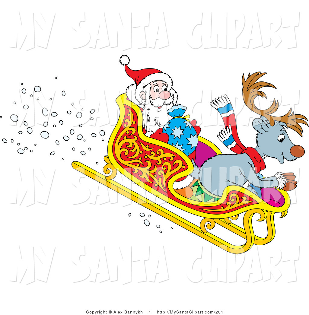 Santa riding in a sleigh with reindeer clipart jpg transparent library Christmas Clip Art of Happy Reindeer and Santa Claus Riding ... jpg transparent library