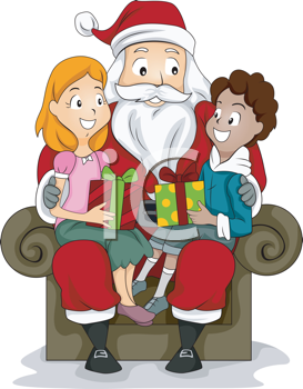 Santa s lap clipart picture library library Royalty Free Clipart Image of a Boy and Girl in Santa\'s Lap ... picture library library