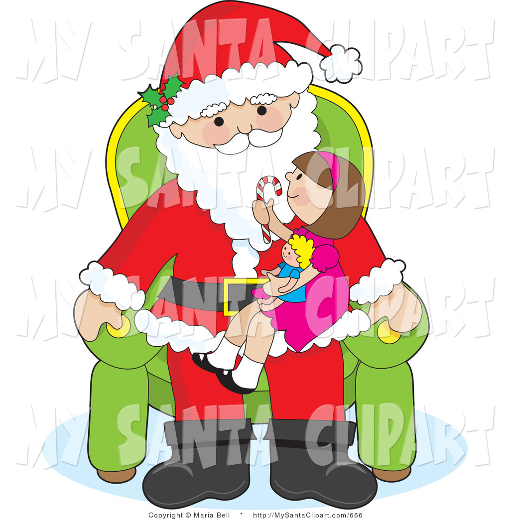 Santa s lap clipart vector transparent stock Vector Christmas Clip Art of a Cute Girl Sitting on Santas ... vector transparent stock