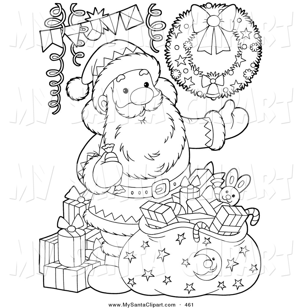 Santa s toy shop clipart black and white svg library Christmas Clip Art of a Black and White Coloring Page ... svg library
