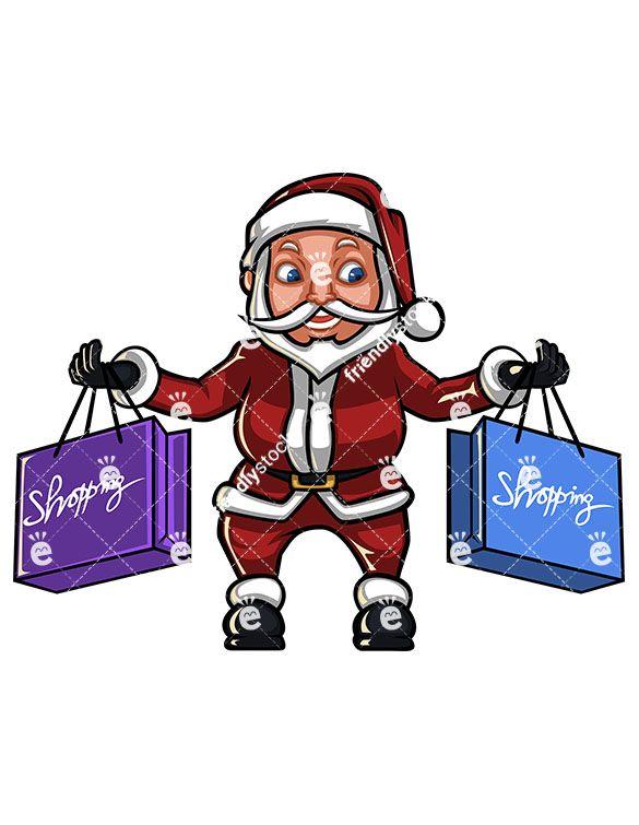 Santa shopping clipart