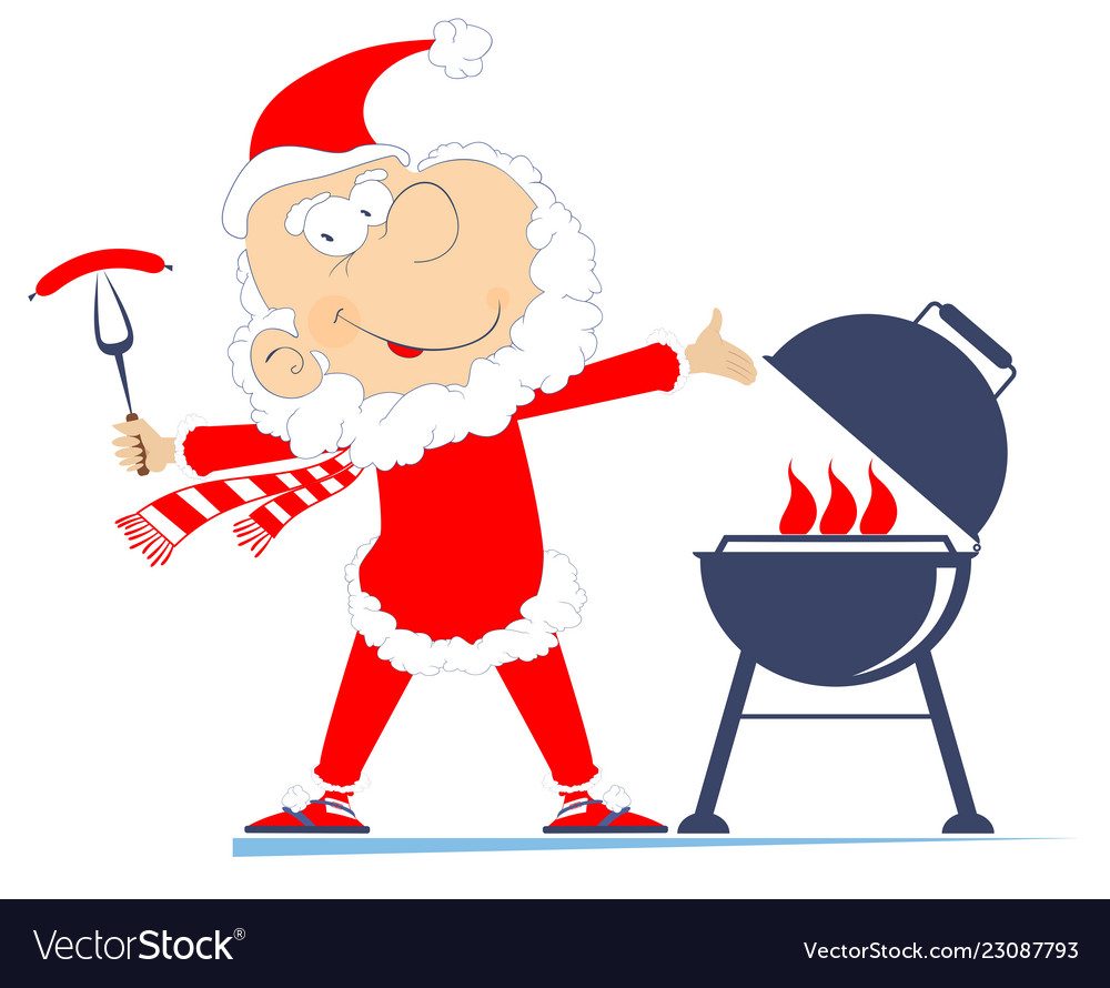 Santa sitting by a campfire clipart clip free download Barbecue and santa claus vector image clip free download