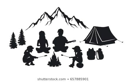 Santa sitting by a campfire clipart graphic download Family sit around campfire silhouette scene with mountains ... graphic download