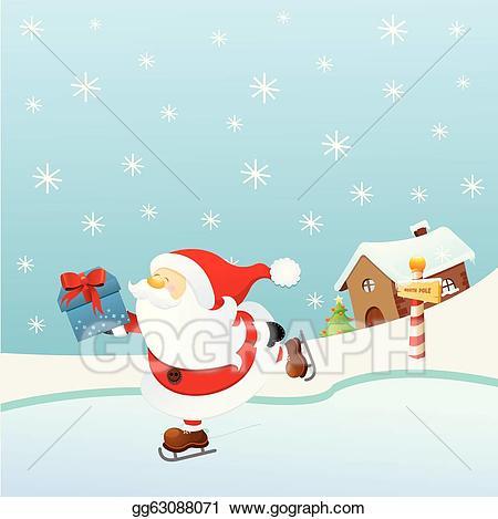 Santa skating clipart banner free library Vector Art - Ice skating santa. EPS clipart gg63088071 - GoGraph banner free library