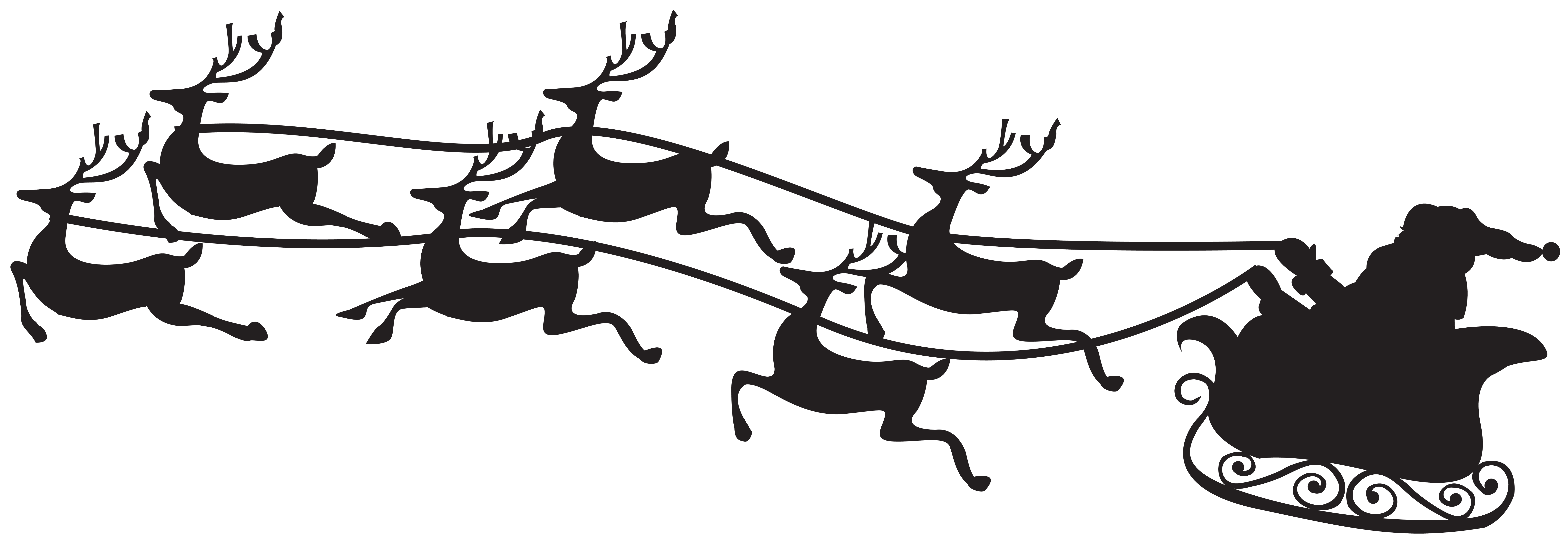 Santa sleigh clipart silhouette vector royalty free library Santa on Sled Silhouette PNG Clip Art Image | Gallery ... vector royalty free library