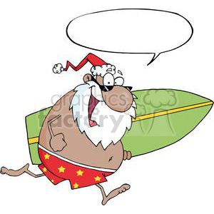 Santa surfboard clipart jpg transparent stock Royalty-Free African-American-Santa-Running-With-A-Surfboard-With ... jpg transparent stock