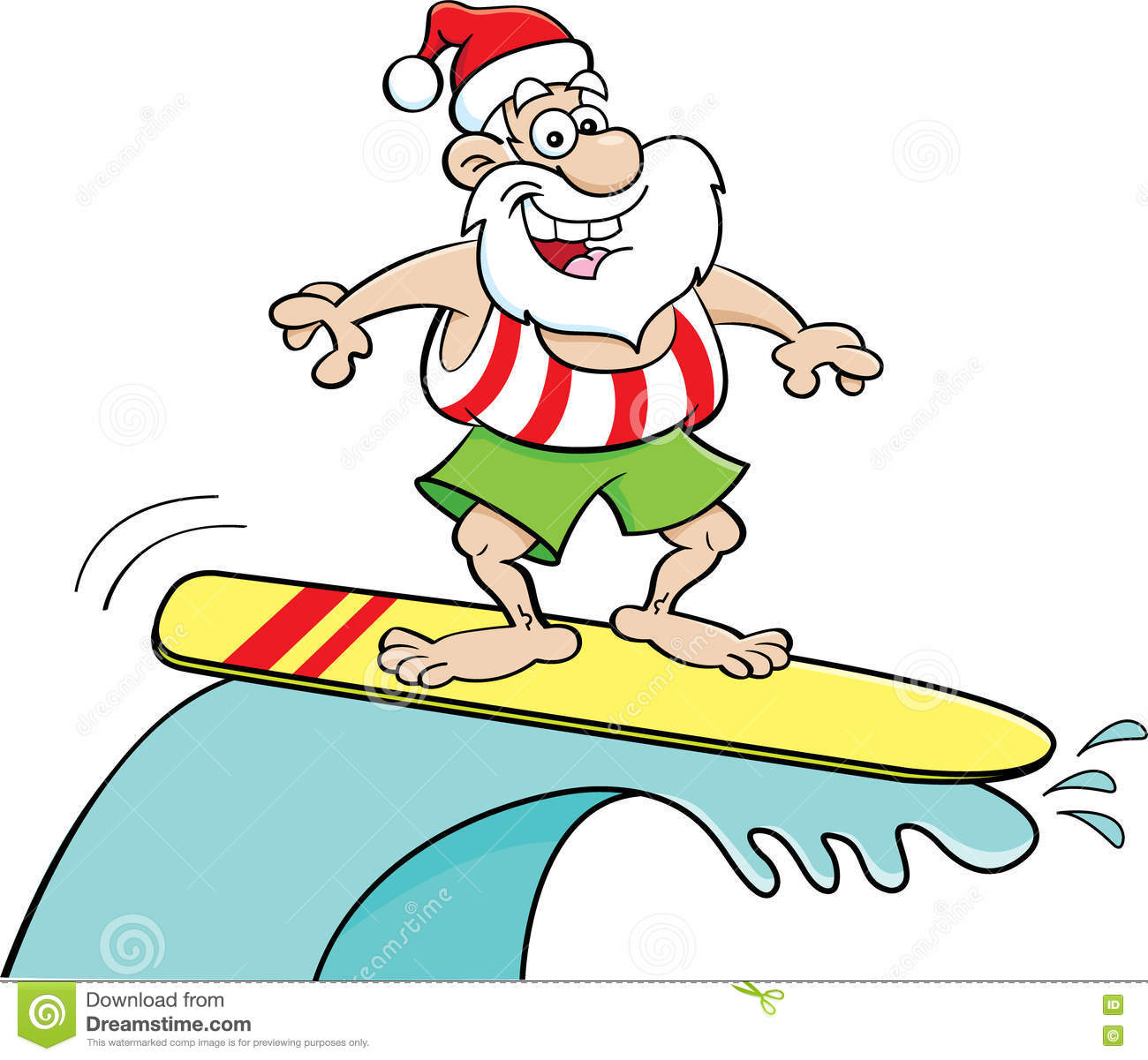 Santa surfboard clipart vector transparent Cartoon Santa Claus Riding A Surfboard. Stock Vector - Image: 72890939 vector transparent