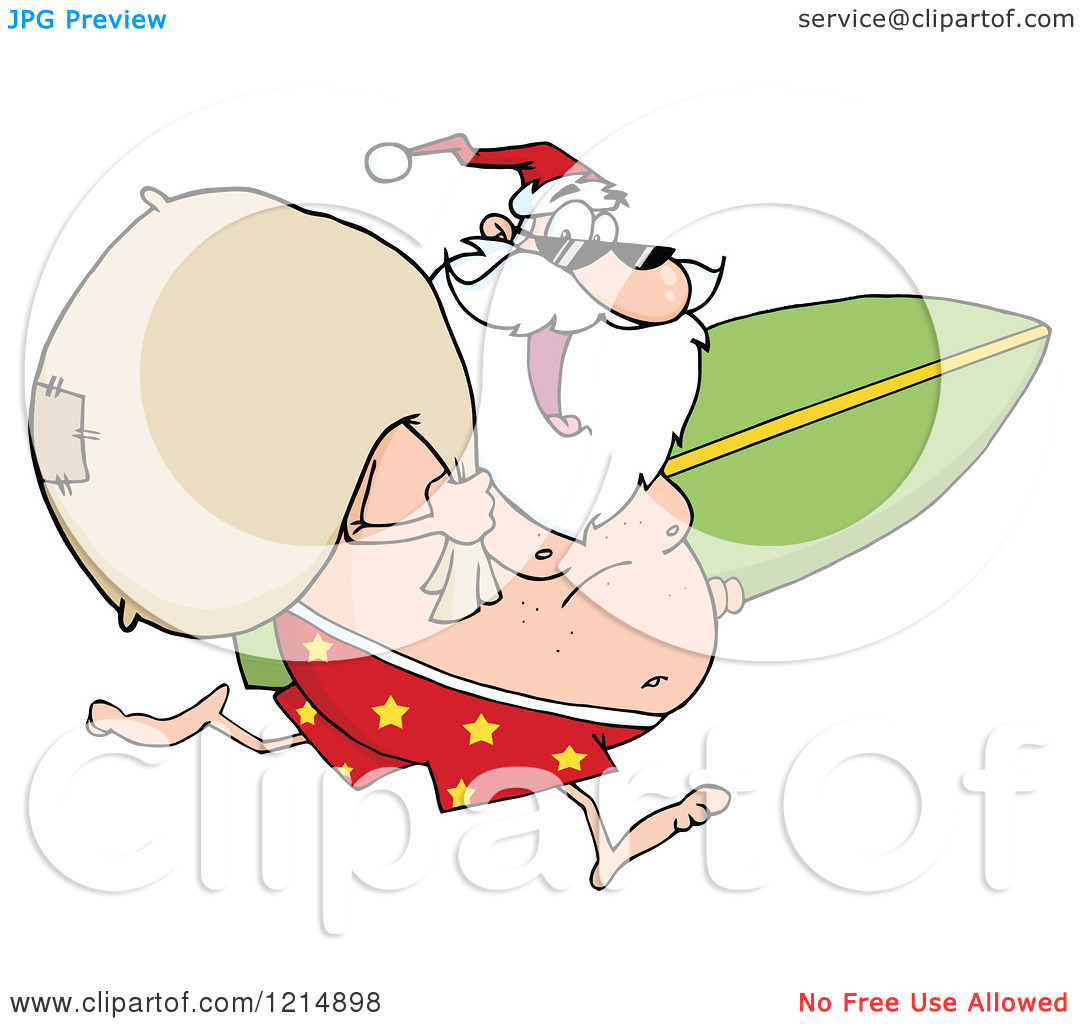 Santa surfboard clipart png royalty free Cartoon of a Happy Santa Running with a Sack and Surfboard ... png royalty free