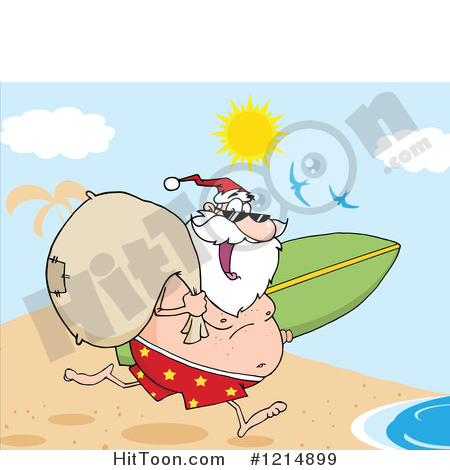 Santa surfboard clipart clipart royalty free stock Santa Clipart #1214899: Happy Santa Running with a Sack and ... clipart royalty free stock