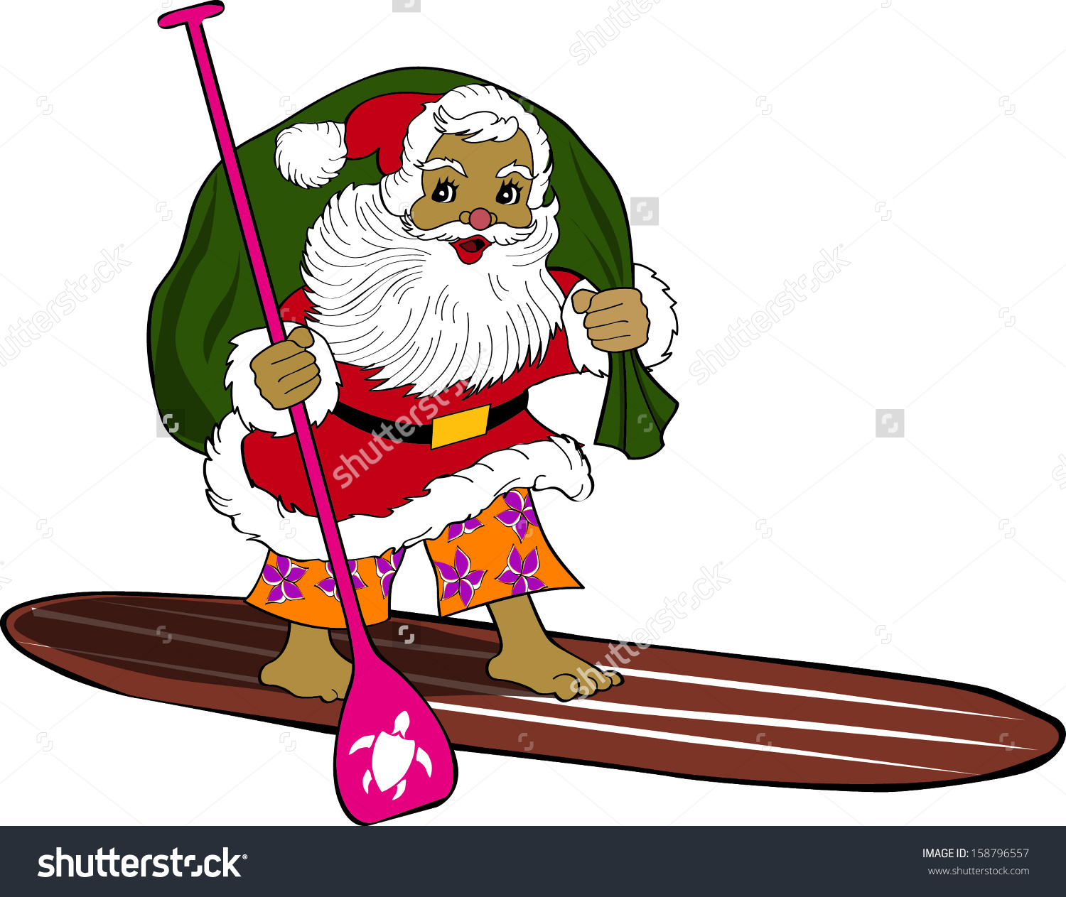 Santa surfboard clipart clip black and white library Retro Tropical Christmas Surfing Santa On Standup Paddleboard ... clip black and white library