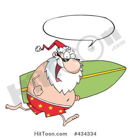Santa surfboard clipart picture free stock Santa Clipart #434334: Santa Running with a Surfboard - 1 by Hit Toon picture free stock