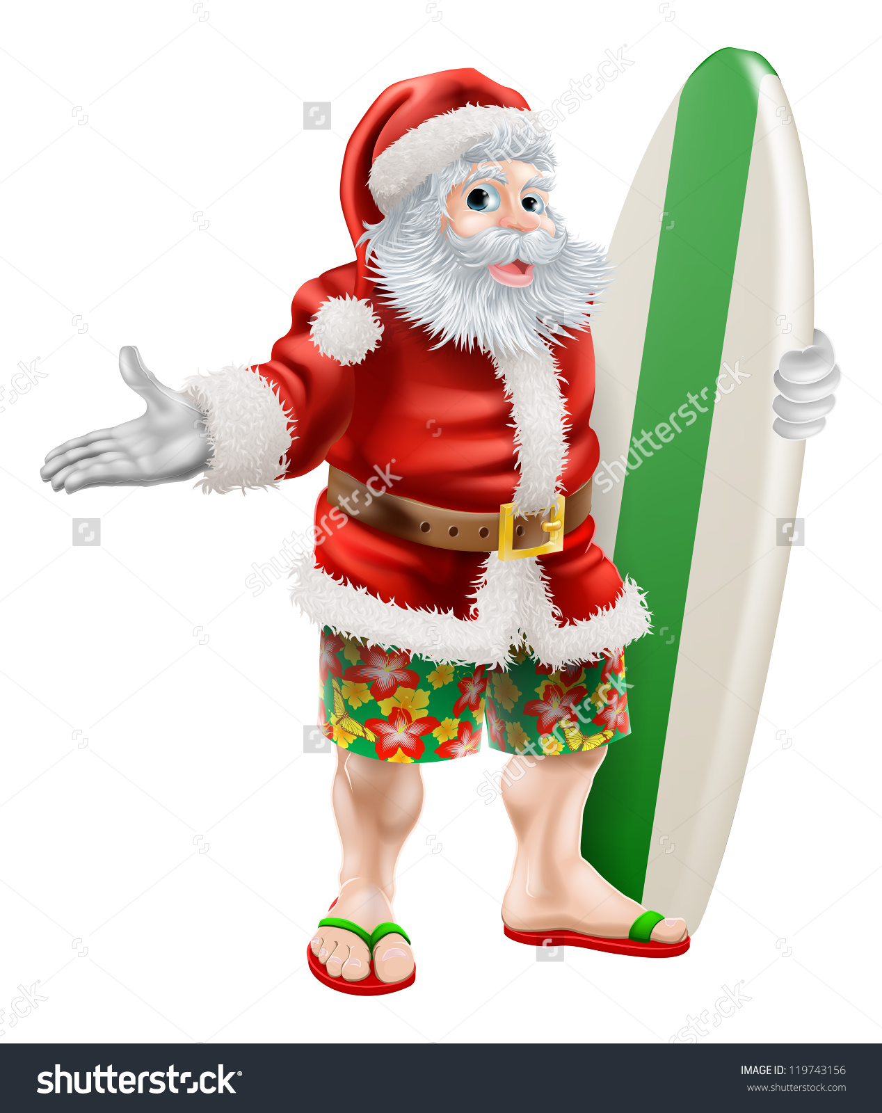 Santa surfboard clipart graphic royalty free download An Illustration Of A Cartoon Santa In Beach Board Shorts Holding A ... graphic royalty free download
