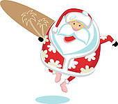 Santa surfboard clipart vector stock Santa Surfing Clip Art - Royalty Free - GoGraph vector stock