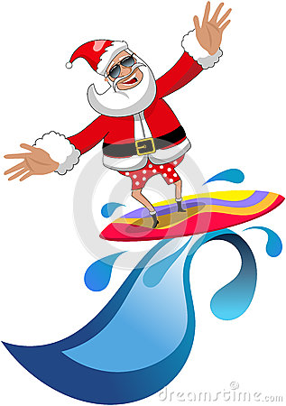 Santa surfboard clipart svg transparent library Fun Santa Claus Cartoon With Surfboard Stock Vector - Image: 61800728 svg transparent library