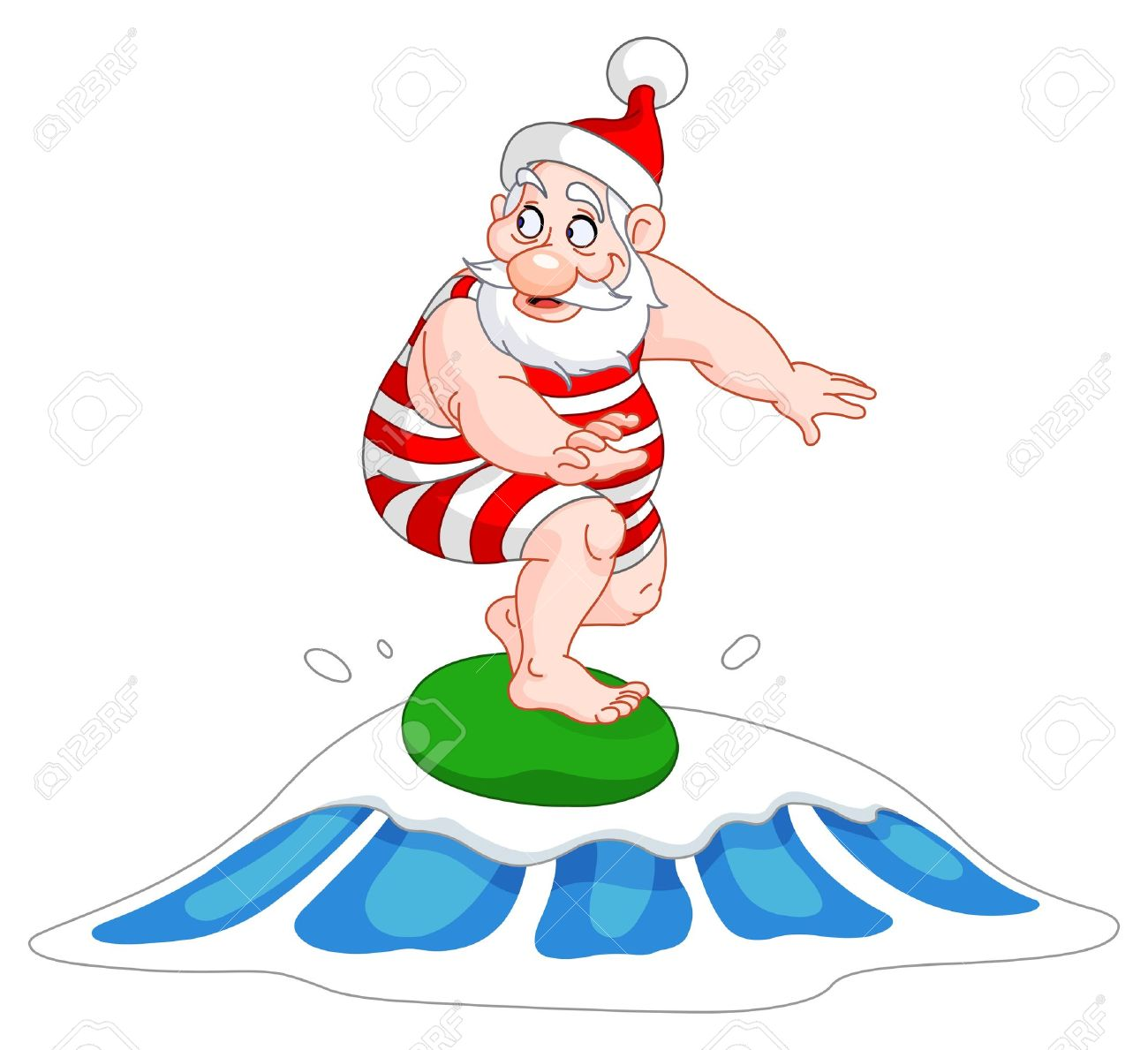 Santa surfboard clipart clip freeuse stock Santa Surfing Royalty Free Cliparts, Vectors, And Stock ... clip freeuse stock