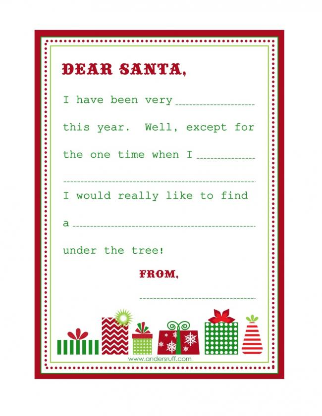 Santa wish list clipart banner freeuse library 20 Free Printable Letters to Santa Templates | Spaceships and ... banner freeuse library