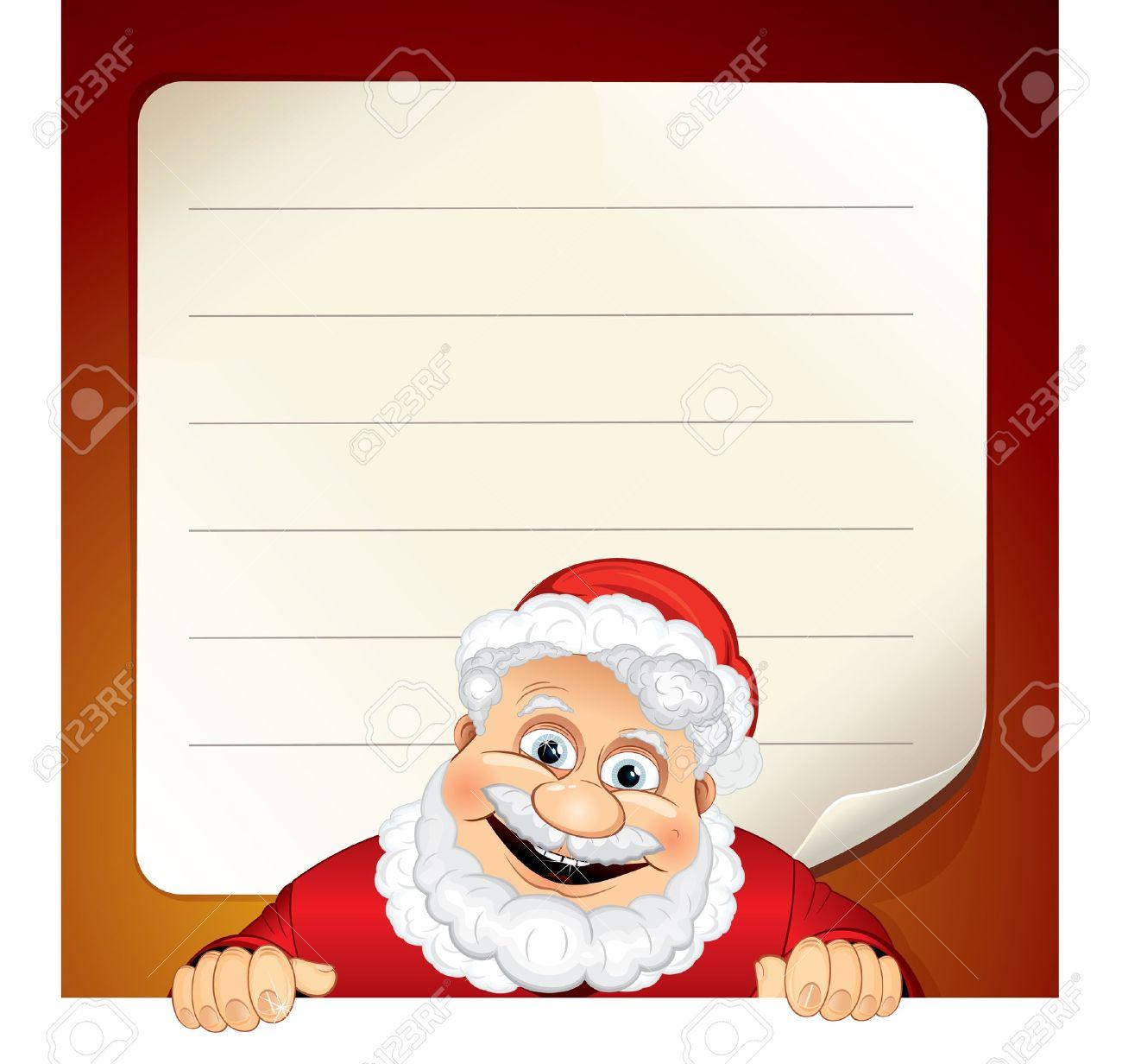 Santa wish list clipart vector free Vector Illustration Of Cartoon Santa Claus And Blank Wish List ... vector free