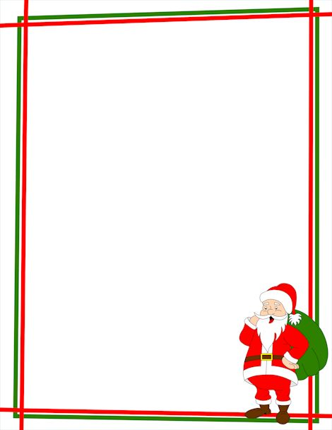 Santa wish list clipart clip art stock A Christmas page border with Santa Claus in the bottom right ... clip art stock