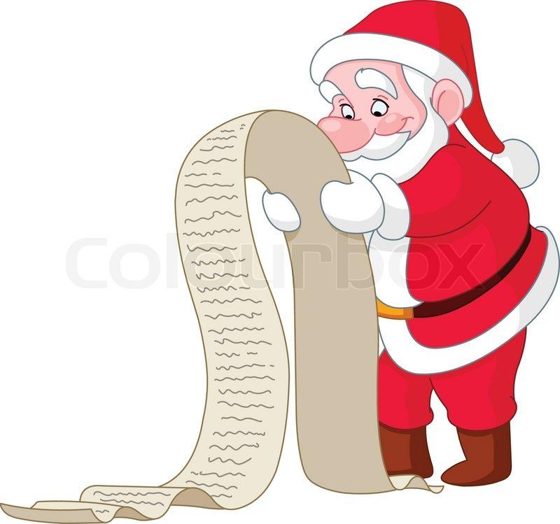 Santa wish list clipart image freeuse library Santa reading a long Christmas wish list | Stock Vector | Colourbox image freeuse library